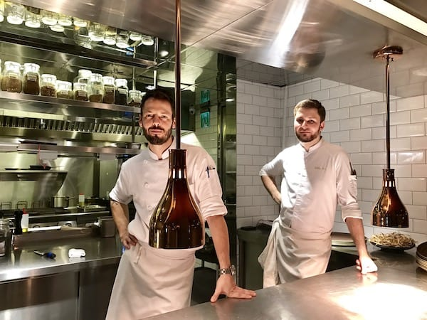 To the left, HYG's chef Pierrick Maire, to the right, sous-chef Gildas Perrin. at the HYG restaurant in Taipei, Taiwan at the S Hotel
