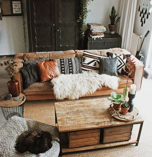 Cushions on a brown leather couch