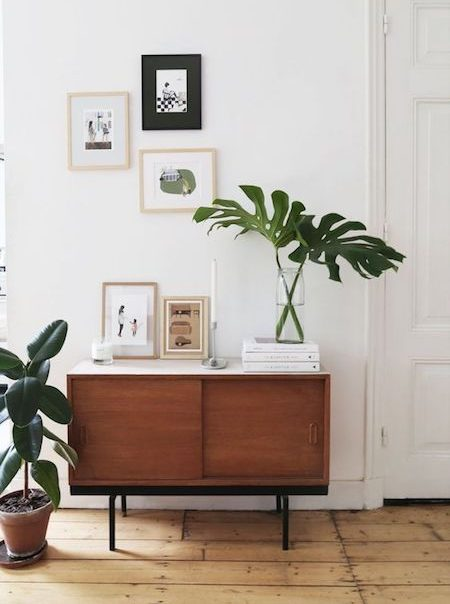 Mid-Century entry table with tropical plants