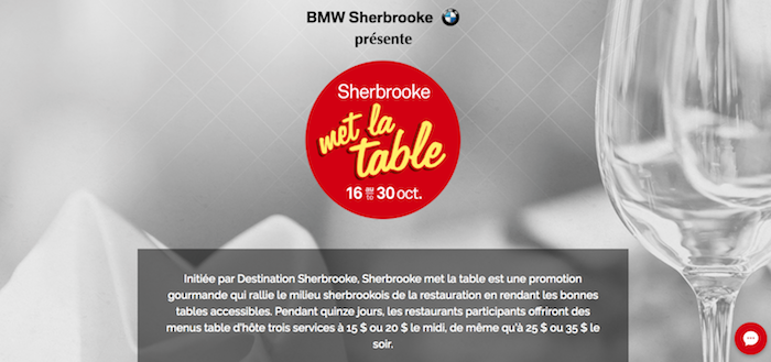 Sherbrooke met la table du 16 au 30 octobre
