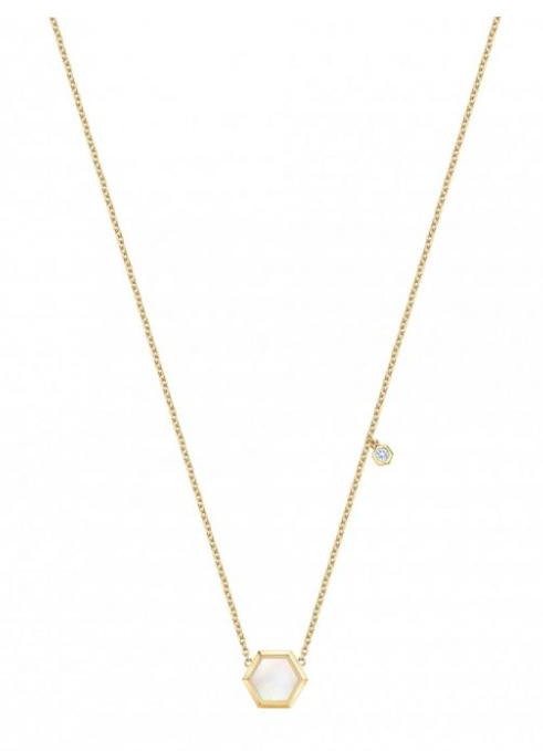 collier or jaune nacre de perle et diamant Birks Bee Chic