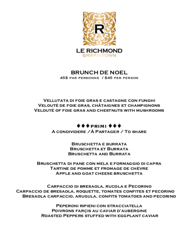 Menu du Brunch de Noël du restaurant Le Richmond